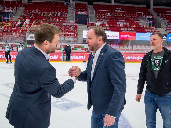 Trenéři Václav Varaďa a Pavel Patera po skončení zápasu.